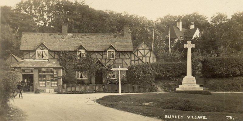 An old image of houses in Burley, New Forest.