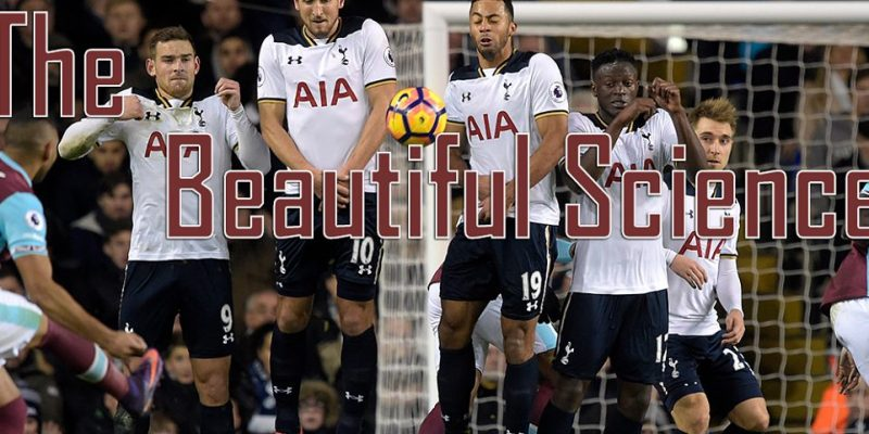 Cover photo for the Beautiful Science. Payet bending free kick over Tottenham Hotspur Wall