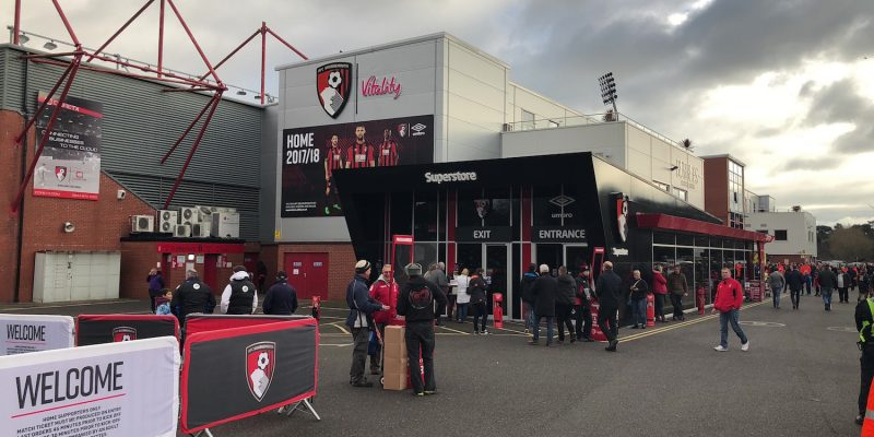 supports gather at the Vitlaity stadium for an AFC Bournemouth game
