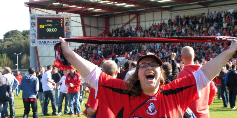 AFC Bournemouth fan celebrates