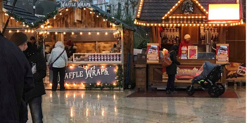 Photo of Christmas market stalls