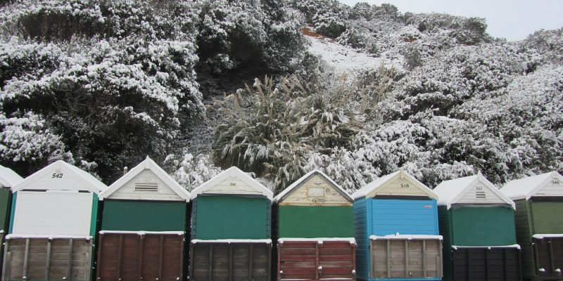 Bournemouth beach huts in snow
