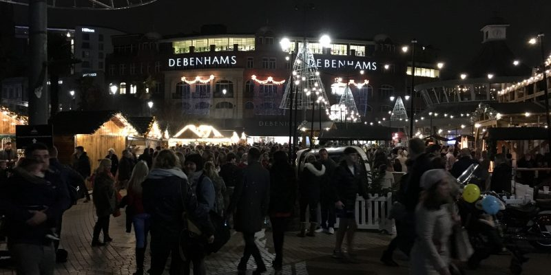 Picture of Bournemouth Town Centre busy with people during opening night of the Christmas Tree Wonderland