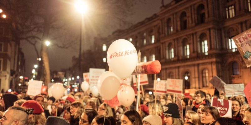 Picture of #PinkProtest who campaign for women's rights, protesting for #FreePeriods.