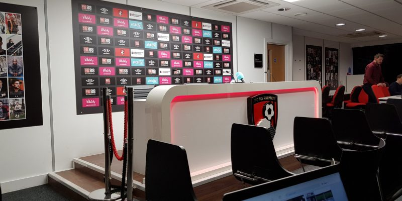 A photo of the AFC Bournemouth press room.