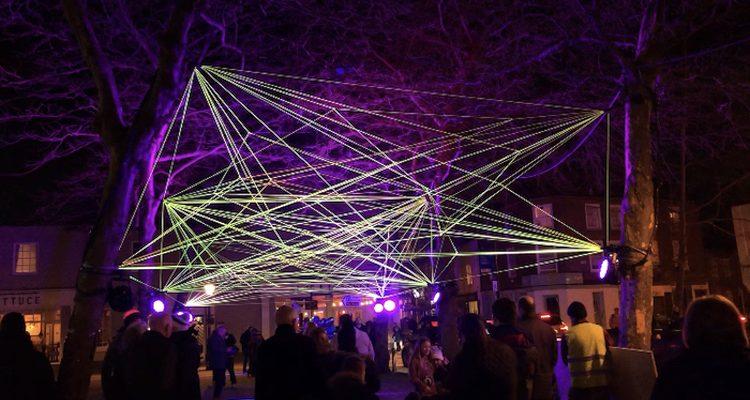 Photograph of Light Up Poole installation 'Rhinezome'.