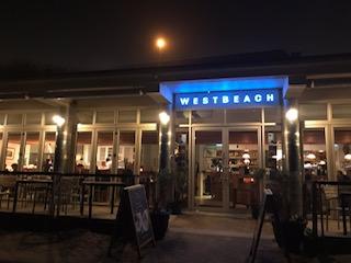 WestBeach, dark, neon blue lights
