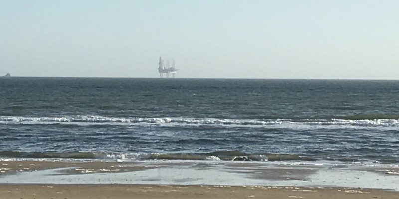 Photo of the Poole bay oil rig overlooking bournemouth beach