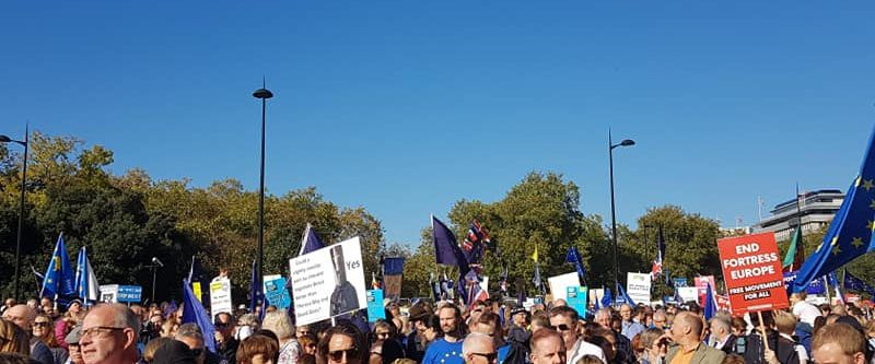image of people marching at the People's Vote march in October 2018