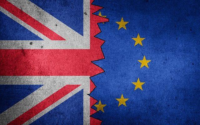The UK flag and the EU flag.