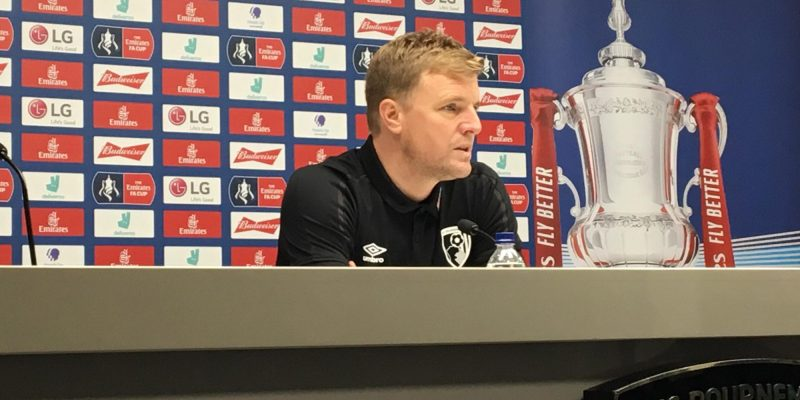 Photo of Eddie Howe talking before Monday's FA Cup clash with Arsenal