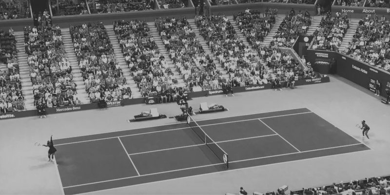 Tennis court with players during a match