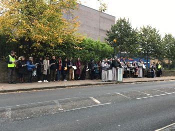 Photo of protesters outside abortion clinic in Streatham