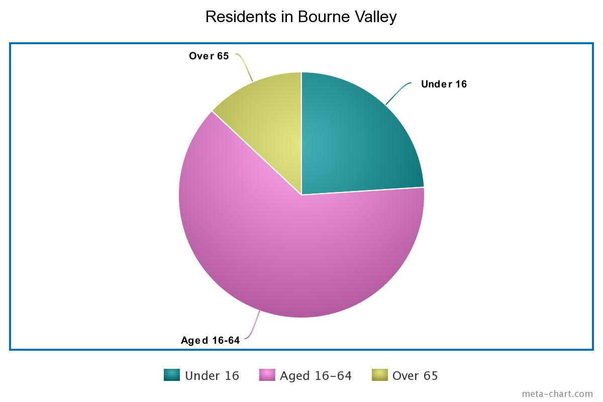 Pie chart showing the proportion of ages in Bourne Valley