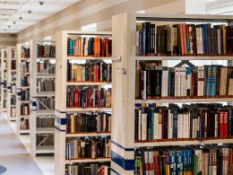 Books on their shelves in a school library