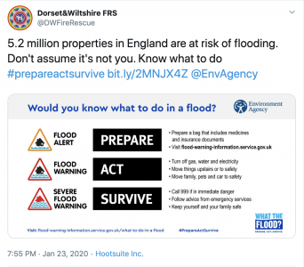Check for flood warnings, prepare, act, survive.