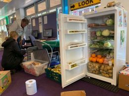 A fridge stocked with food for the people of Boscombe to use.
