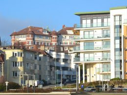 Photo of Boscombe houses and flats by sea front. George Farquhar
