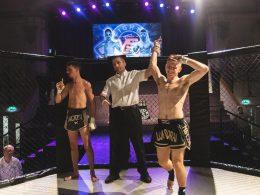 "Photo of Jordan ""Ginge"" Swinton winning an amateur fight."