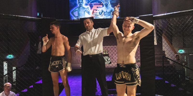 "Photo of Jordan ""Ginge"" Swinton winning an amateur fight."