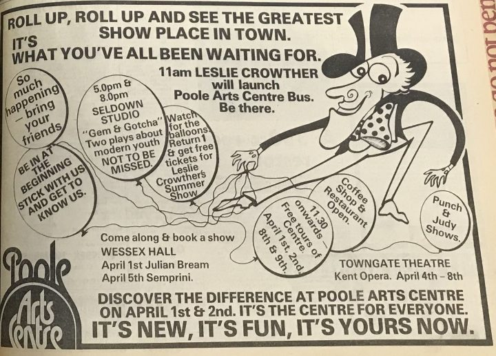 Photo of newspaper advertisement for Poole Arts Centre on opening day in 1978.