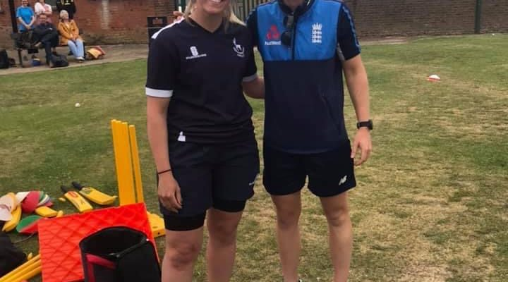 A photograph of trainee teacher Amy Price and England Women's Cricket captain Heather Knight