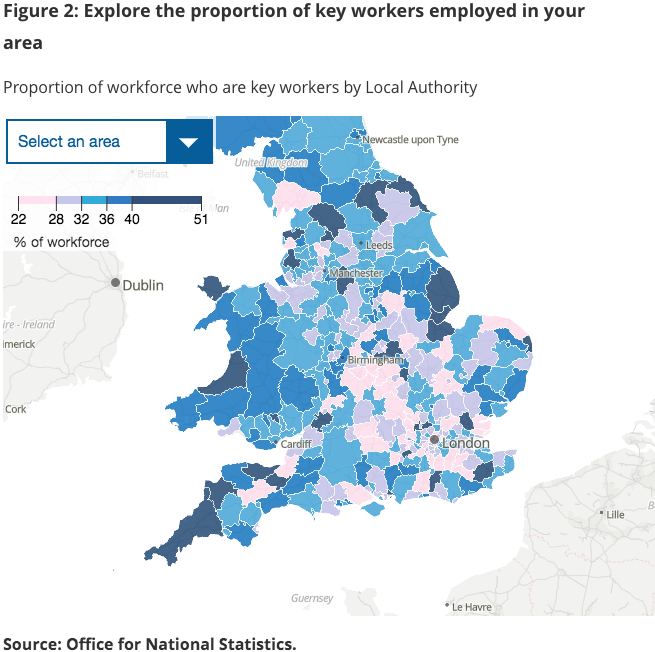 Map showing number of key workers across England