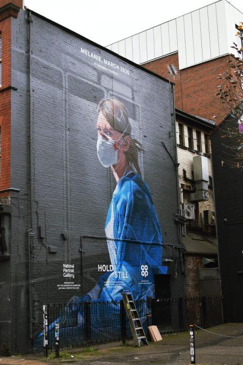 Graffiti art of a frontline nurse worker