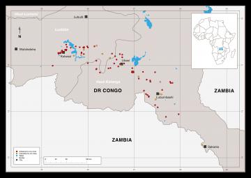 A diagram of the mine sites in the Democratic Republic of Congo